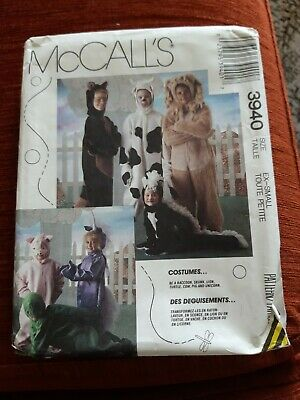 £14 • Buy McCalls Sewing Pattern 3940 Animal Costumes EX-SMALL Lion/Cow/Turtle/Unicorn +