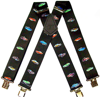 £14.99 • Buy Mechanics Classic Vintage Car Pattern For Trouser Work Braces Black With Clips