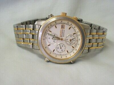 $ CDN69.58 • Buy A Vintage Gents Seiko Chronograph Sports 100 Stainless Steel & Gold Wrist Watch
