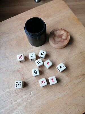 £5 • Buy Vintage Poker Dice (10)  With Real Ebony Shaker Cup