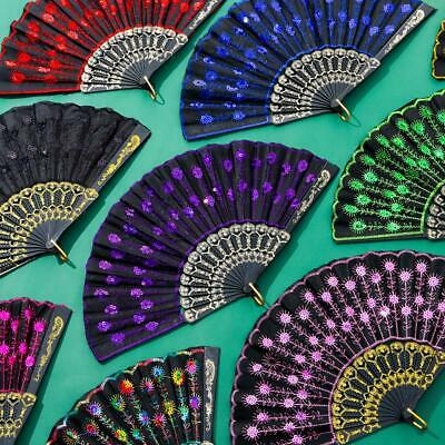 £2.88 • Buy Ladies Printed Dance Wedding Peacock Feather Chinese Style Hand Fan Lace Silk