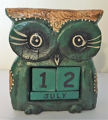 £5 • Buy Shabby Chic Standing Owl Perpetual Calendar Wooden (Hand Carved)