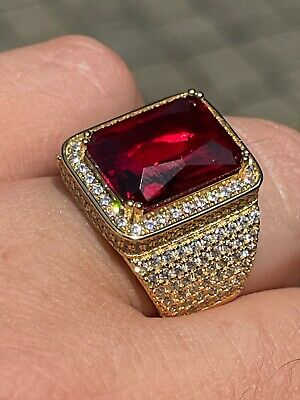 $57.58 • Buy Mens Iced Diamond 14k Gold Vermeil Out Real 925 Silver Ruby Red Stone Big Ring