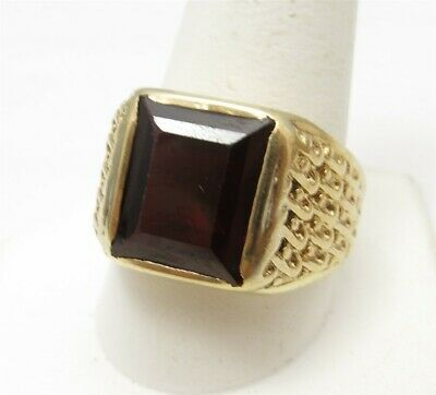 $350 • Buy 10K Yellow Gold Emerald Cut Ruby Detailed Sides Men's Ring Size 12
