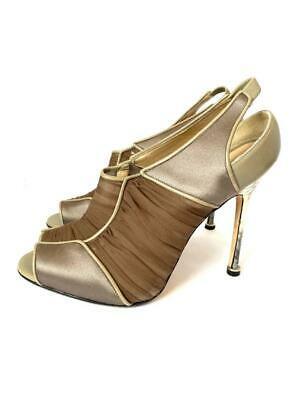 £72.36 • Buy Manolo Blahnik Shoes Taupe Satin With Ruched Silk Slingback Heels Size 37