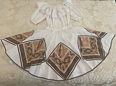 $40 • Buy Vtg SouthWestern Fancy White Square Dance Outfit (with Pocket)  Ships Free