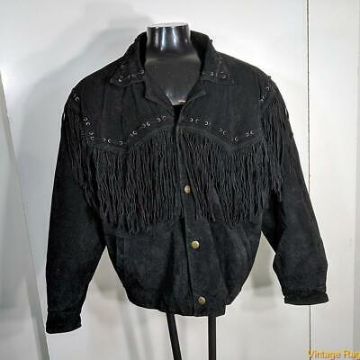 $29.99 • Buy BEYOND LEATHER Western Suede LEATHER Fringe JACKET Mens Size XL Black Insulated