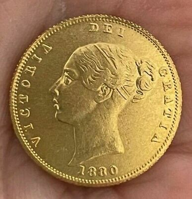 £5.50 • Buy 1880 Queen Victoria Young Head Half Sovereign ~ Gold Plated Coin