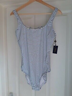 £25 • Buy Polo Ralph Lauren Blue And White Stripped One Piece Swimsuit. UK 12