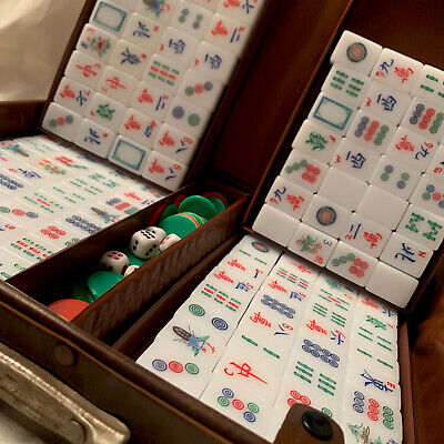 $150 • Buy Vintage Mah Jong Set With 148 Tiles Thick White & Blue, In Suitcase