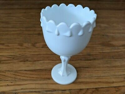 $3.50 • Buy Indiana Glass Milk Glass Footed Teardrop Pedestal Compote Goblet Cup