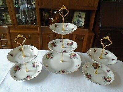 £20 • Buy Set Of 3 Chodziez Porcelain 2 And 3 Tier Cake Stands - Country Roses