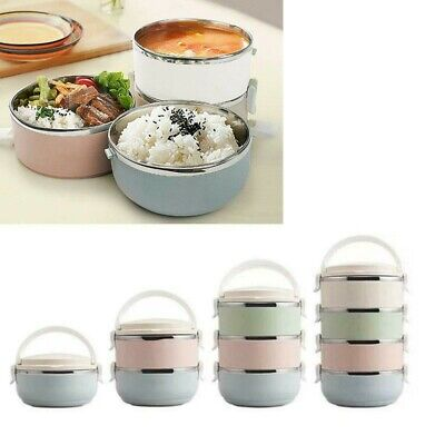AU24.67 • Buy 700ml Round Thermo Insulated Thermal Food Container Bento Lunch Box 1-4 Layers
