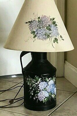 $125 • Buy  Signed  Country  Hand Painted Flowers Milk Can Lamp Base And Painted Lamp Shade