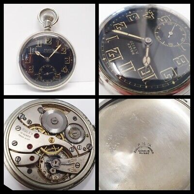 $347.45 • Buy LOVELY ANTIQUE WW2 MILITARY ROLEX A.19130 POCKET WATCH BLACK/GOLD DIAL C1940s