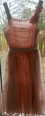 £3.50 • Buy NEXT SIGNATURE Rose / Nude Girls Bridesmaid / Party / Prom Dress Aged 14