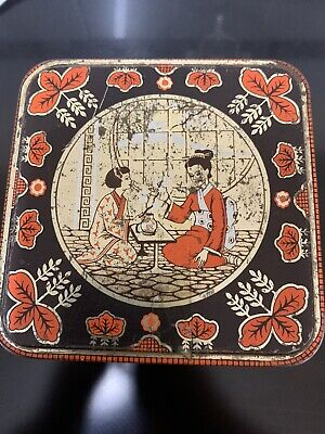 £9 • Buy Vintage Tin, Tea/sweet Caddy With Chinese Design