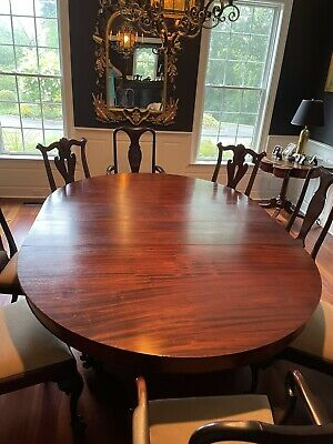 """$3500 • Buy Antique Flame Mahogany Dining Room Table-60"""", Expands To 120"""" With 5 Leaves"""