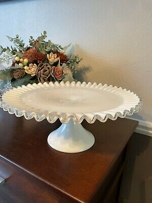$45.99 • Buy Vintage Fenton Silver Crest Cake Plate Stand ~13  Clear Ruffled Rim ~ Milk Glass