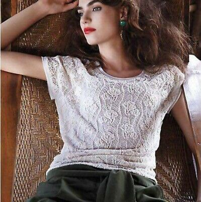 $ CDN6.26 • Buy Anthropologie Stitch & Knot XS Ivory Lace Textural Paradise Top
