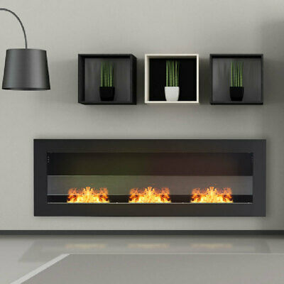 £129.95 • Buy Bio Ethanol Fireplace Inset Wall Mounted Steel Glass Clean 2/3 Burner ECO Heater
