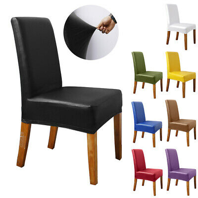 £7.19 • Buy Waterproof Leather Chair Covers Dining Stretch Solid Seat Slipcover Protector UK