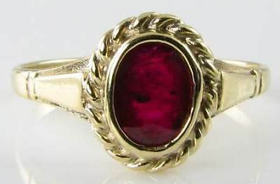 £199 • Buy Dainty 9k 9ct Gold  Indian Ruby Solitaire Edwardian Vintage Ins Ring Free Size