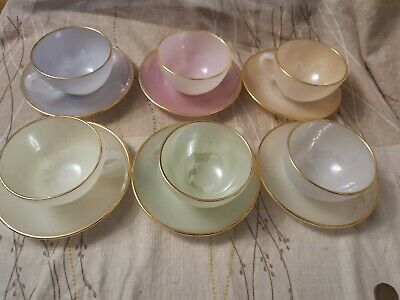 £39.99 • Buy Set Of 6 Arcopal . French Harlequin Cups And Saucers - Vintage Mid-century
