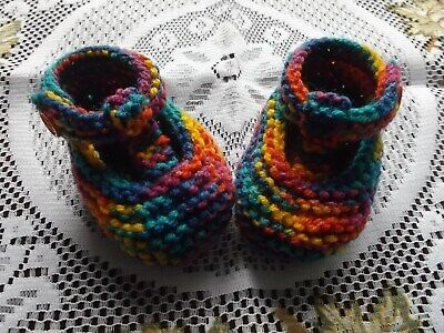 £1.75 • Buy Hand Knitted  Baby Shoes / Booties 0 -3 Months