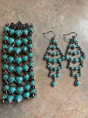 £34.92 • Buy Lucky Brand Tribal Silver Tone Linked Turquoise Stone Toggle Bracelet & Earrings