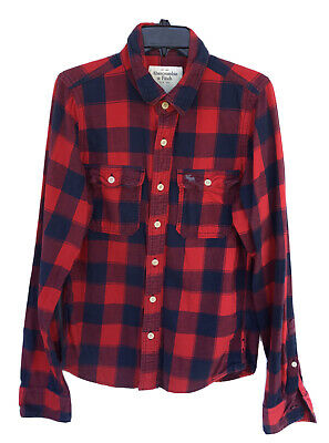 $25 • Buy ABERCROMBIE & FITCH Red Heavy Flannel Shirt Size L Long Sleeve Button Up