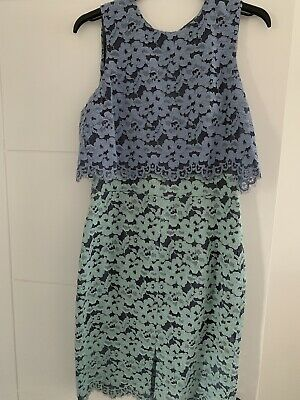 £19.99 • Buy ASOS TOPSHOP Blue Two Tone Lace Dress Size UK 10- Worn Once To Wedding RRP £75