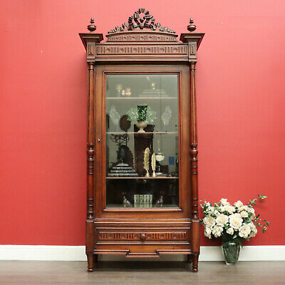 AU2475 • Buy Antique French Bookcase China Cabinet, Antique Walnut Glass Door Hall Cupboard