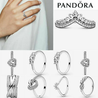 £11.89 • Buy ALE S925 Genuine Silver Pandora Sparkling Stackable Ring & With Free Pouch