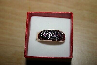 £5 • Buy Ruby Topaz Ring On Gold Plated Metal Size R