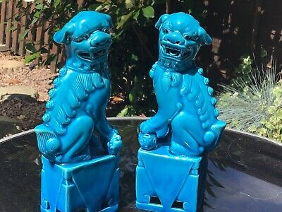 £75 • Buy Large Pair Of Blue Foo Dogs Signed