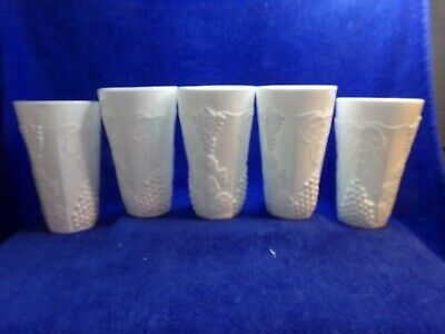 $18.99 • Buy 5 VINTAGE MILK GLASS TUMBLERS WITH GRAPEVINE Leaves