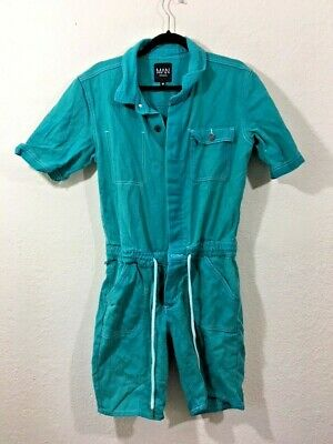 $22.49 • Buy Boohooman Mens Turquoise Collared Short Sleeves One Piece Coverall Size Medium