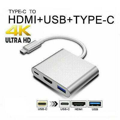 AU0.99 • Buy 3IN1 Type-C To USB-C HDMI USB 3.1 Adapter Converter Cable Hub For Mac Air Pro