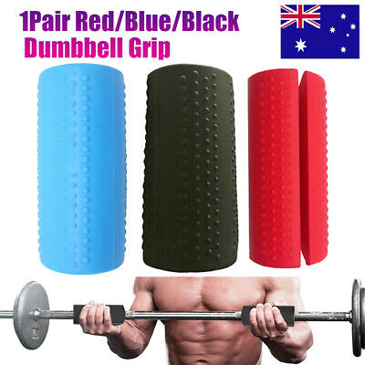 AU17.99 • Buy 1Pair Thick Fat Barbell Silicone Grips Gym Arm Wrap Bar Dumbbell Grip Weightlift
