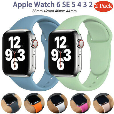 $ CDN7.81 • Buy 2 Pack 42/44mm Silicone Sport IWatch Band Strap For Apple Watch Series 6 5 4 SE