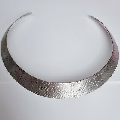 £14.99 • Buy Vintage Hammered White Metal Torque Necklace Collar Collarette Grecian Eqyptian