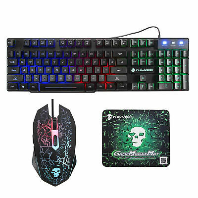 AU28.10 • Buy T6 Gaming Keyboard And Mouse Set Mouse Pad Rainbow Backlit For PC PS4 Xbox One