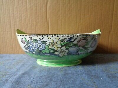 £11.99 • Buy Maling Oval Bowl With Lustre Glaze Green Inside Floral Outside 1524a