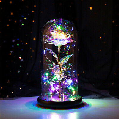 AU24.43 • Buy LED Galaxy Rose Glass Beauty Beast Light Dome Valentine's Day Gift Home Decor
