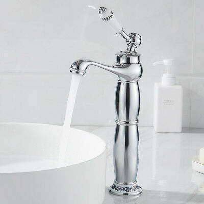 £38.95 • Buy Bathroom Taps Victorian Basin Mixer Tap Tall Counter Top Faucets Brass Chrome