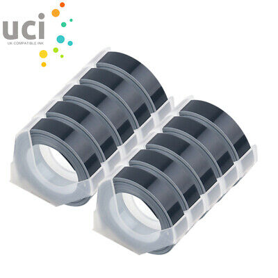 £10.24 • Buy 10 Rolls Embossing Label Tape Compatible With DYMO 9mmx3mm WHITE ON BLACK