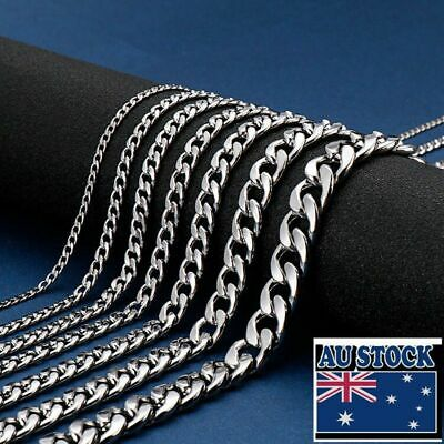 AU7.95 • Buy Wholesale Real Stainless Steel 2-7mm Curb Cuban Chain Necklace 40-90cm
