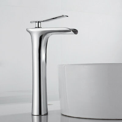£44.99 • Buy Chrome Waterfall Bathroom Basin Taps Mixer Tap Tall Brass Counter Top Faucets