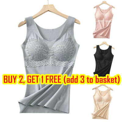 £10.44 • Buy Ladies Cami Vest With Built In Bra Tank Top Fitness Sports Comfy Sport Tunic UK